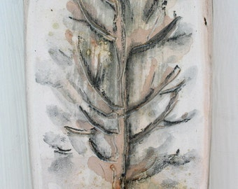 Ceramic tile from the Winter Garden series. Winter landscape, tree, winter day, foggy day, gray, brown, tan. Hand painted ceramics.