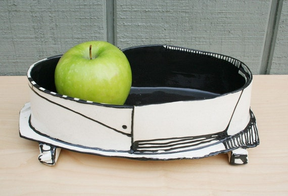 Black and white modern low vessel
