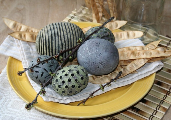 Group of five decorative spheres in dusty yellow, purple, chartreuse and blue green 35