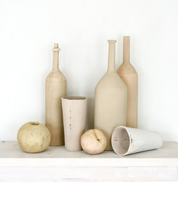 Ceramic still life for your mantle. Bottles, fruit, apple, peach, natural, neutral, tan, runstic, handmade.