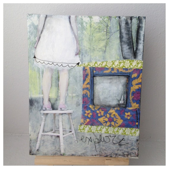EXPLORE // Original Mixed Media Photography Collage Painting by Carissa Paige