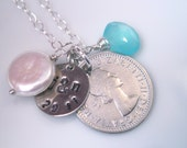 Gorgeous Sixpence Wedding Anklet with Chalcedony, Pearl and Custom Silver Charm