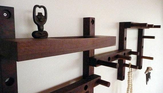 Thru - Block wooden coat rack- 7 piece vertical or horizontal pattern with Key Shelf