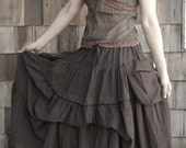 Take Me to Your Heart...Steampunk Short Front/ Long back Tiered Chocolate Brown Skirt With 2 Roomy Pockets