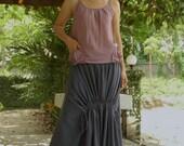 Pull Me...Medium Weight Light Cotton Skirt In Dark Blueish Grey