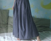 All For You...Dusty Dark Blue Wide Leg Pants With Pleated Detail