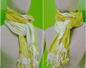 2 Tone Natural White And Yellow 2 layer Light Gauze Cotton Scarf