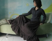 All Day Long - Boho Maxi Tiered Cotton Skirt Hand Dyed In dark Chocolate Brown