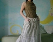 What You Thought...Cotton Skirt With Cotton Lace Hand Dyed In Beige
