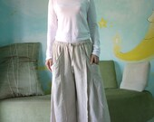 Leisure Time - Linen Mix Cotton wide Legs Pants With Pleated Detail On Each Pockets