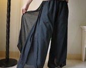 Summer Vacation - Black Light Cotton Wide Legs Pants