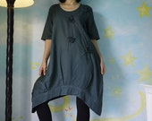 Funky Blossom...Floral Applique Hand Dyed Dark Charcoal Light Linen Mix Cotton Blouse Tunic Dress With Asymmetrical Hem