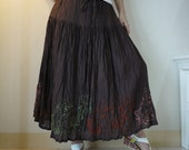 Come Away With Me...Floral Hand Embroidered Hand Dyed Dark Chocolate Brown Light Cotton Skirt Or Tube Dress
