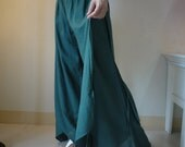 Summer Vacation - Hand Dyed Dark Green Light Cotton Wide Legs Pants