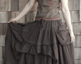 2 In 1 Take Me to Your Heart...Steampunk Short Front/ Long back Tiered Dark Brown Skirt With 2 Roomy Pockets