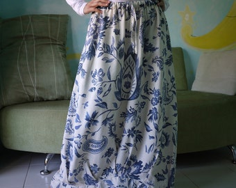 Blossom - Blue Floral Printed Linen Mix Cotton Skirt