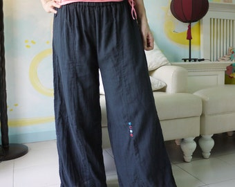 Azo Free  Charcoal Black Double Gauze Cotton Pants With 4 Tiny Square-Shaped Hand Embroidery