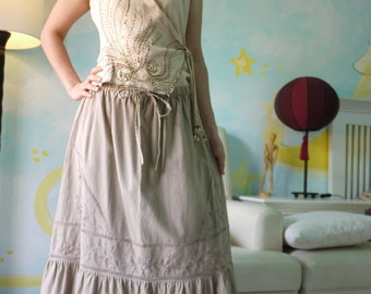 Summer Blossom....Brownish Beige Linen Mix Cotton Skirt With Floral Hand Embroidered Detail