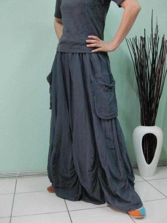 Bring Me To The Moon - Steampunk Maxi Flare Hand Dyed Charcoal Crinkle Cotton Skirt With Ruching Detail Around Bottom Hem