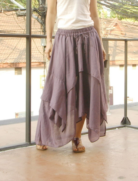 Let's Step Out...Dusty Lavender Light Filament Cotton Skirt With Asymmetrical Hem