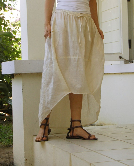 So Cool...Natural White Linen Blend Cotton Skirt