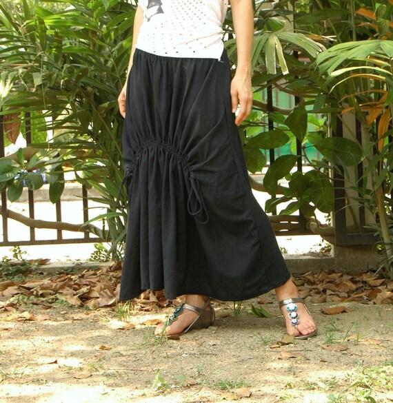 Pull Me...Medium Weight Light Cotton Skirt In Black