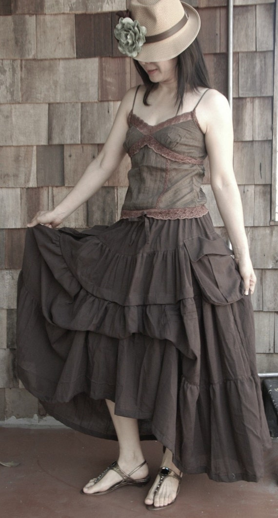Take Me to Your Heart...Steampunk Short Front/ Long back Tiered Dark Chocolate Brown Skirt With 2 Roomy Pockets
