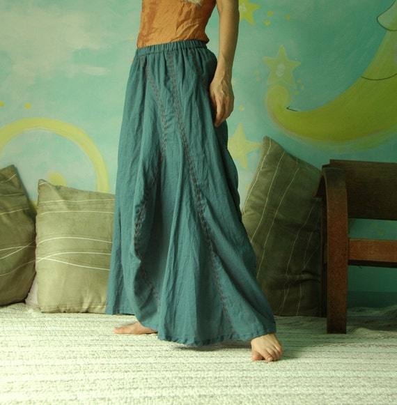 Find Me....Cotton Swirly Patched Skirt With Cotton Hand Stitched Line