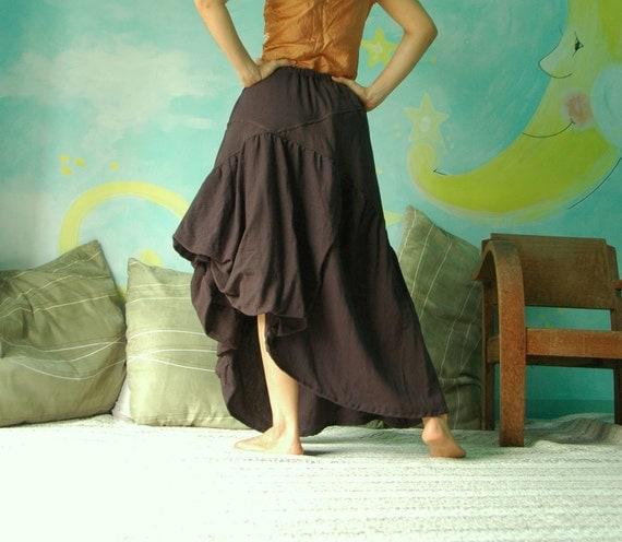 Steampunk Dark Brown Light Cotton Skirt With Asymmetrical Bottom Hem and 1 Side Pocket