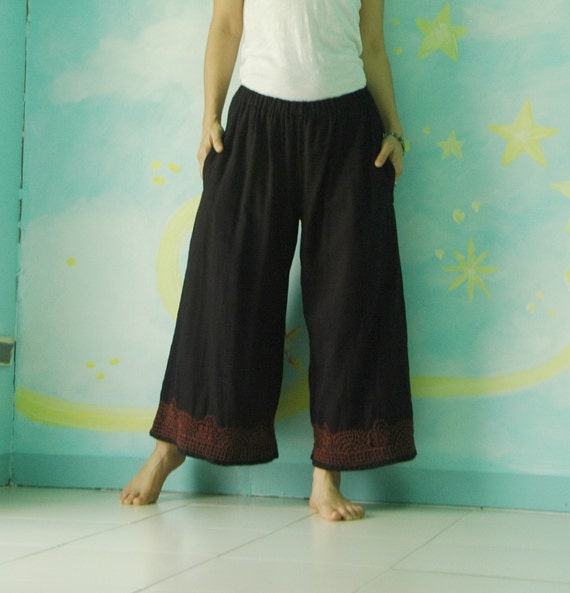 It happens to be - One Fine DayII...Azo Free Black Double Gauze Cotton Pants with hand Embroidered Detail At Bottom Hem