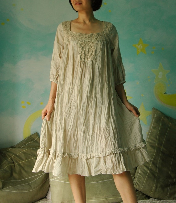 I'm here...Square Collar Sun Dress Hand Dyed In Azo Free Pale Beige