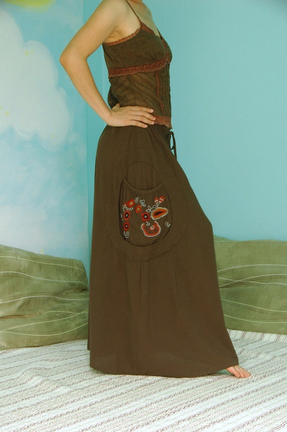 Look At Me Now II - Dark Greenish Brown Cotton Skirt With Floral Hand Embroidered Detail On Right Pockets