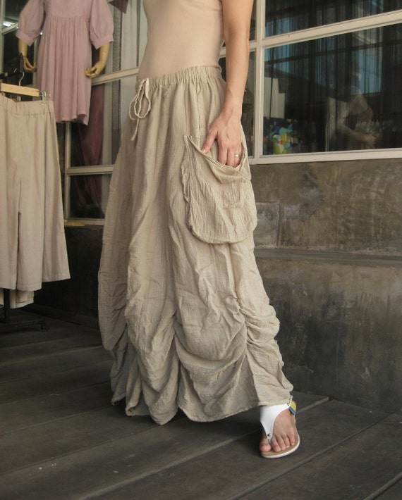 Bring Me To The Moon - Steampunk Maxi Flare Hand Dyed Beige Crinkle Cotton Skirt With Ruching Detail Around Bottom Hem