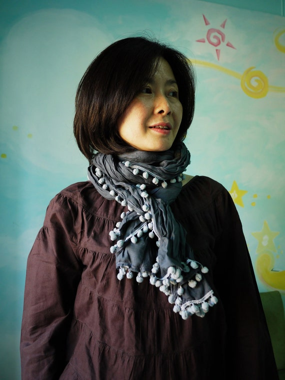 Wrap Me Up...Hand-Dyed Dark Charcoal Cotton Shawl/Scarf With Blueish Grey Cotton Ball