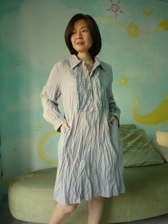 Long Sleeve Shirt Collar Light Muslin Cotton Tunic Hand Dyed In Azo Free Grey