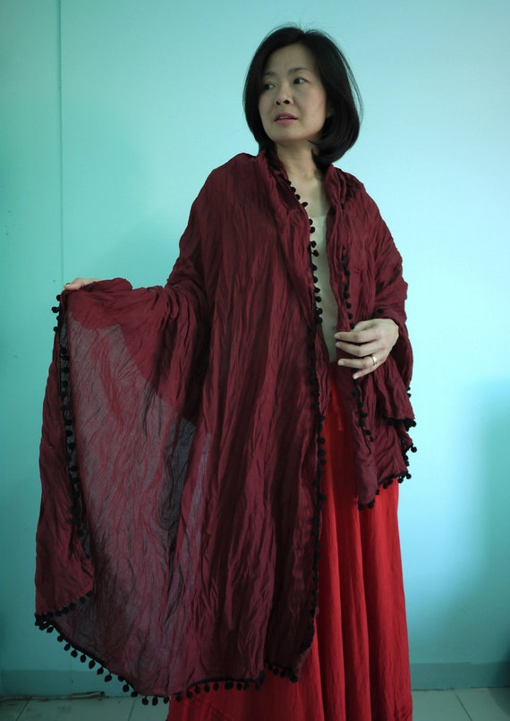 Wrap Me Up...Hand-Dyed Dark Red Cotton Shawl/Scarf With Black Cotton Ball