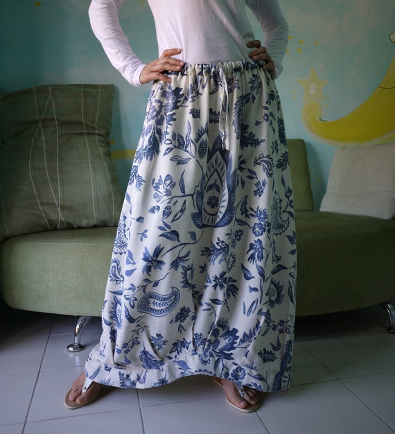 Funky Blossom - Blue Floral Printed Linen Mix Cotton Skirt