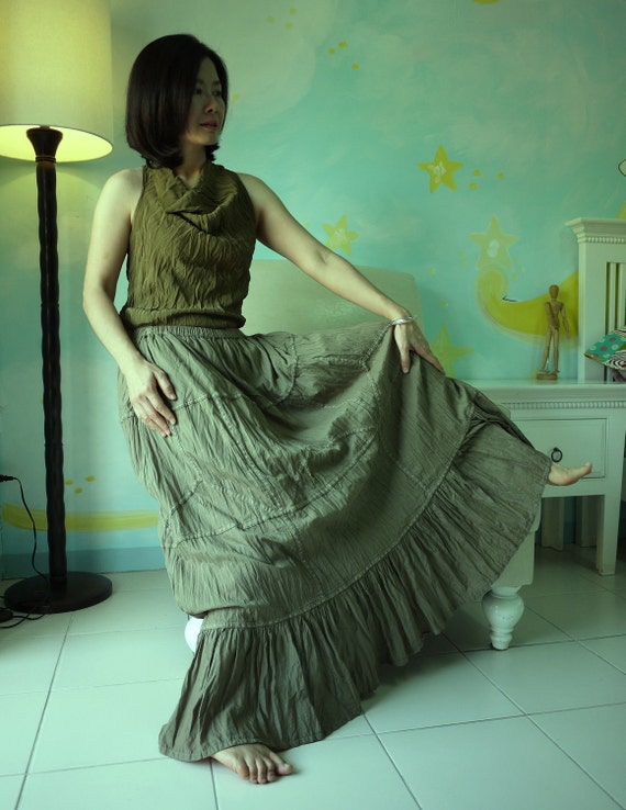 All Day Long - Boho Maxi Tiered Cotton Skirt Hand Dyed In Olive green
