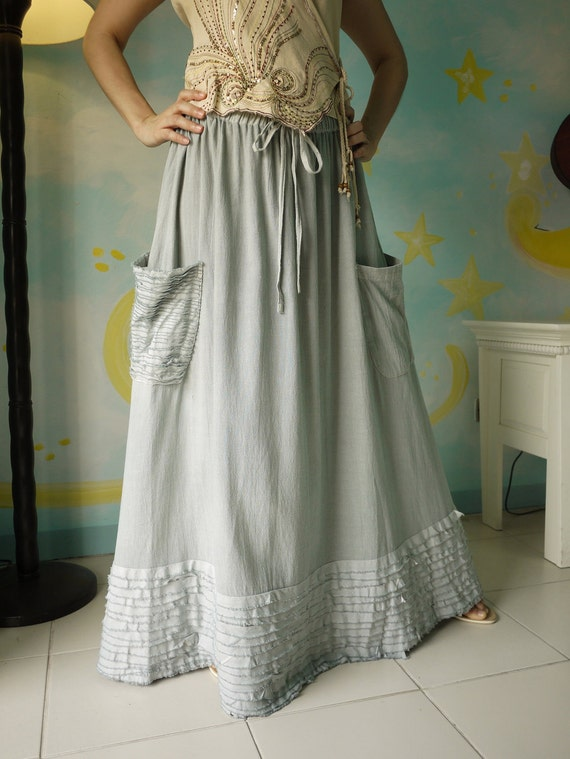 Plus Size ...Artistic Fray - Hand Dyed Blueish Grey Medium Weight Cotton Skirt With Fray Frill