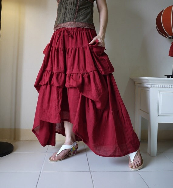 Take Me to Your Heart...Steampunk Short Front/ Long back Tiered Dark Red Light Cotton Skirt With 2 Roomy Pockets