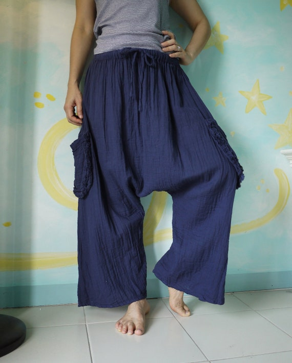 Chic Summer Unisex Pants - Hand Dyed Dark Navy Blue Light Double Gauze Cotton Pants With 2 Side Hanging Pockets