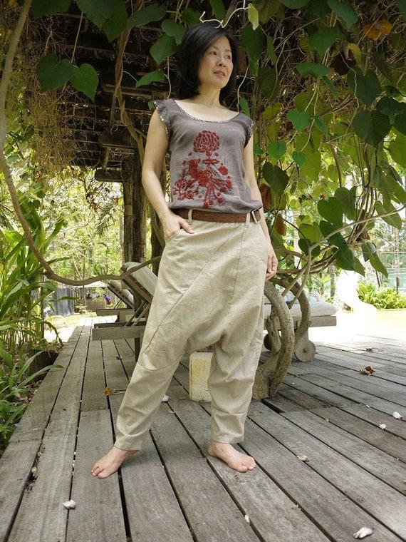 Unisex Pants - Drop Crotch Beige Cotton Pants With 2 Side & 1 Patched Back Pockets