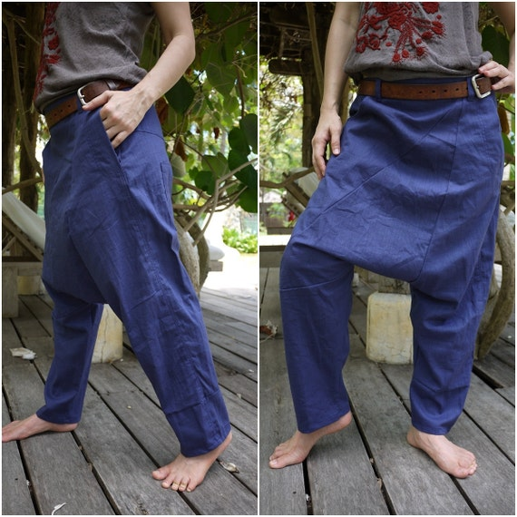 Unisex Pants - Drop Crotch Dark Blue Cotton Pants With 2 Side & 1 Patched Back Pockets