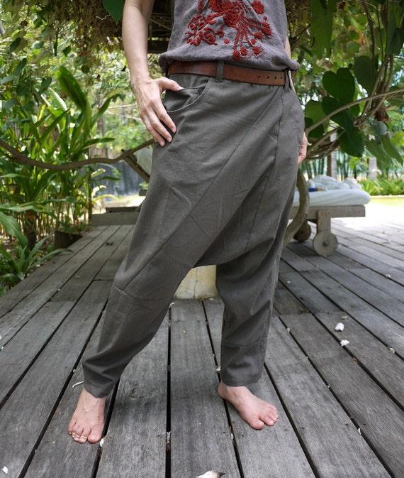 Unisex Pants - Drop Crotch Dull Greenish Charcoal Cotton Pants With 2 Side & 1 Patched Back Pockets