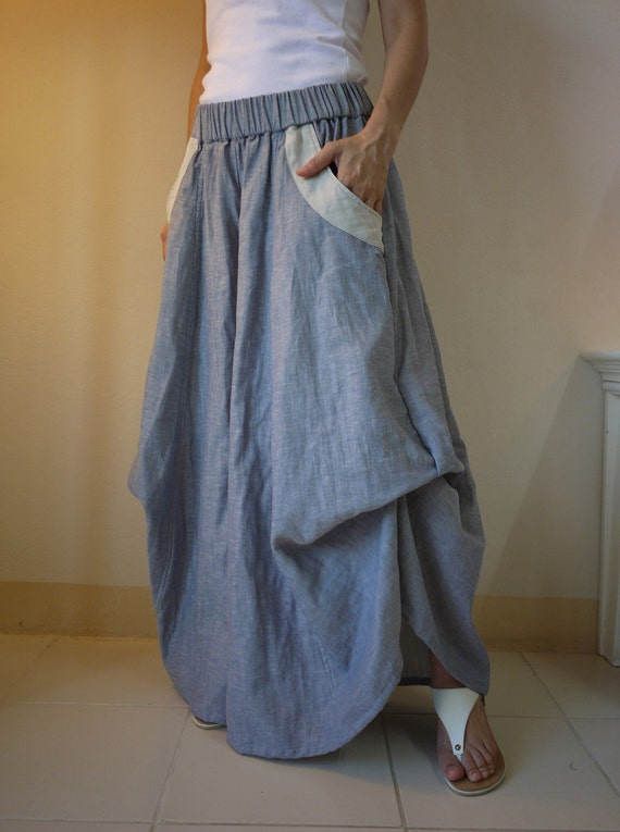 Blue Cotton Mix Linen Double Voile Yarn Dyed Super Wide Legs Funky Bell Bottom Pants