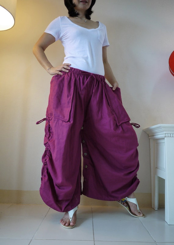 Love Me..Love Me Not II - Steampunk Azo Free Fuchsia Pink Double Gauze Cotton Convertible Skirt Or Pants And 2 Roomy Pockets