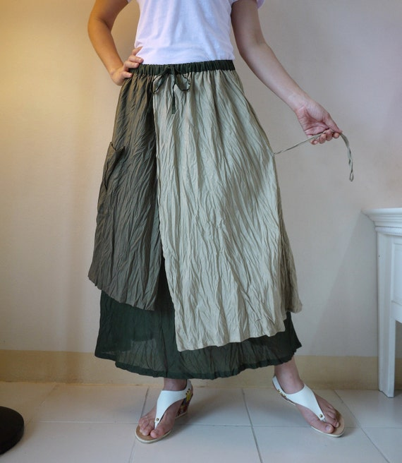 3 Tone A-Line Light Cotton Voile Skirt With Side Drawstring And Patched Pocket