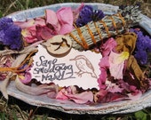 Abalone Shell Sacred Smudging Accessory W/ Dried Flowers