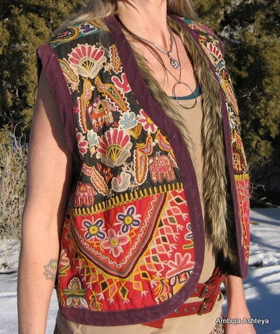 VINTAGE Hand Embroidered Tribal Gypsy Nomad Boho Chic Festival Costume Vest