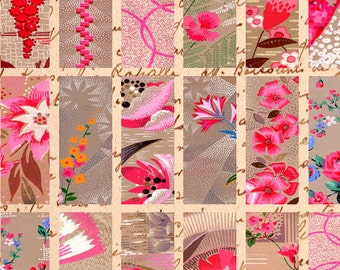 Pink 1930s French Art Deco Wallpaper 1x3 inch Instant Download digital collage sheet printable 008
